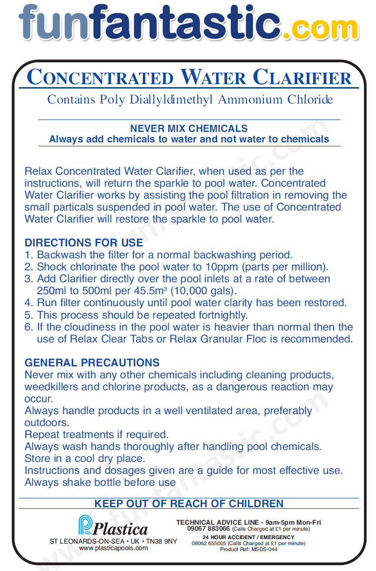 Concentrated Water Clarifier Fun Fantastic Swimming Pool Chemicals Poly Diallyldimethyl