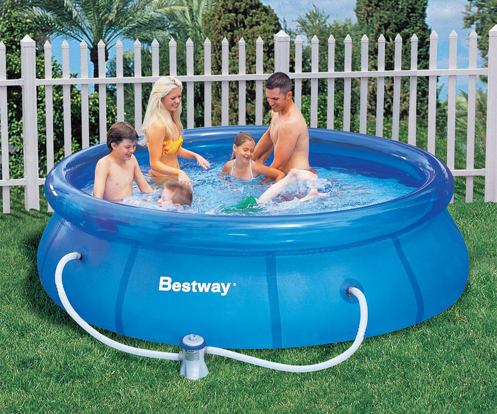 Bestway 10ft x 30 inch fast set above ground pool for Garden pool accessories