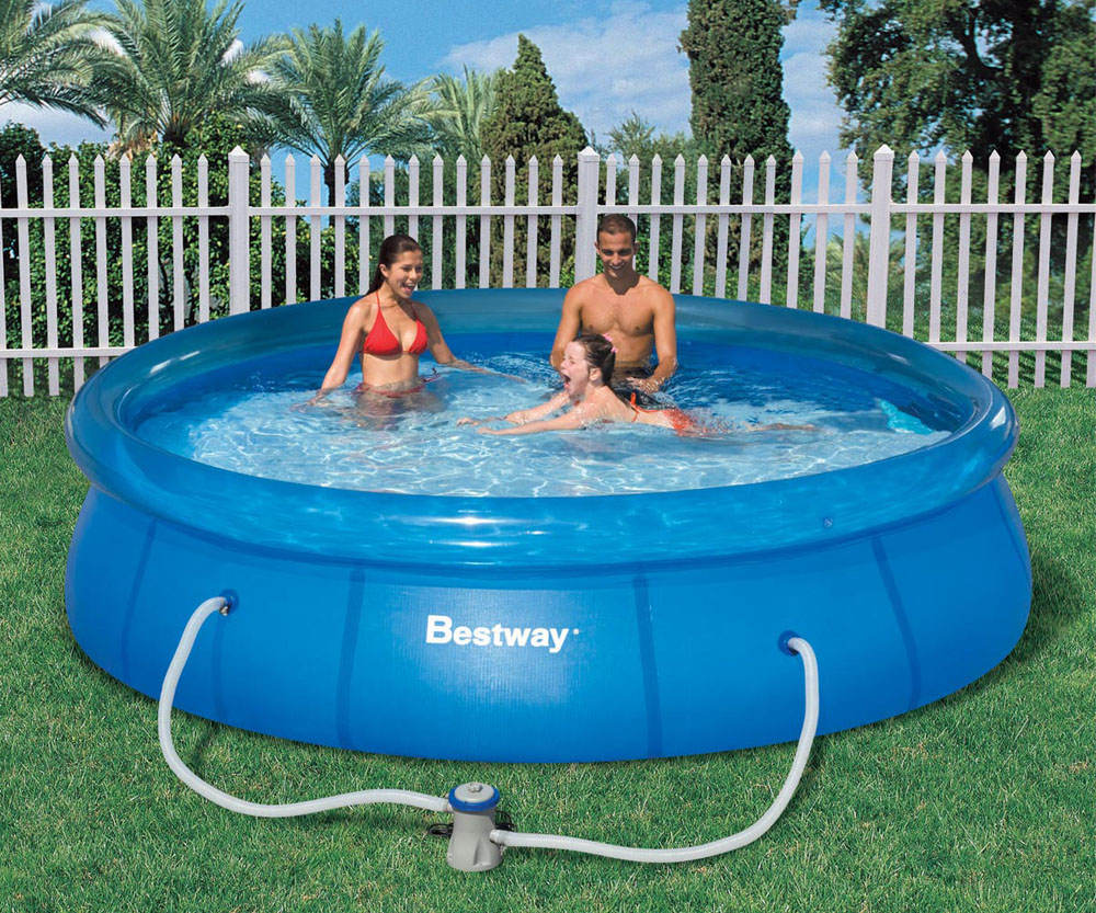 Bestway pool 12ft fast set clear blue inflatable ring for Big garden pools