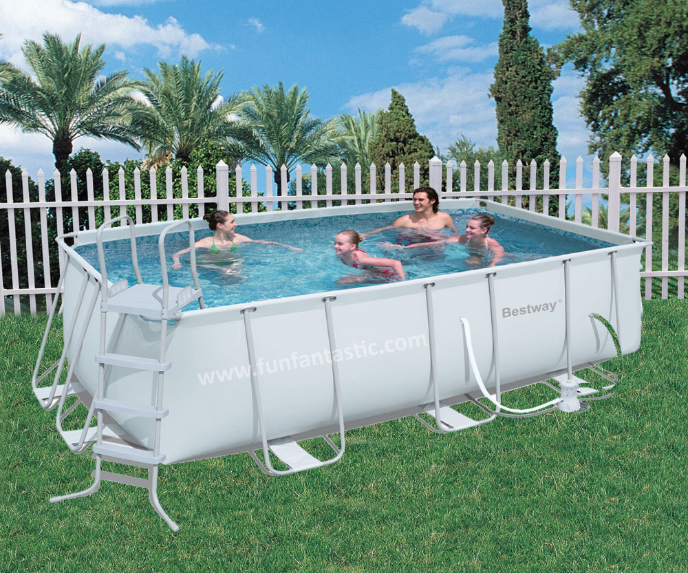 Bestway 13ft6 x 6ft7 x 48in steel pro frame rectangular pool for Square above ground pool