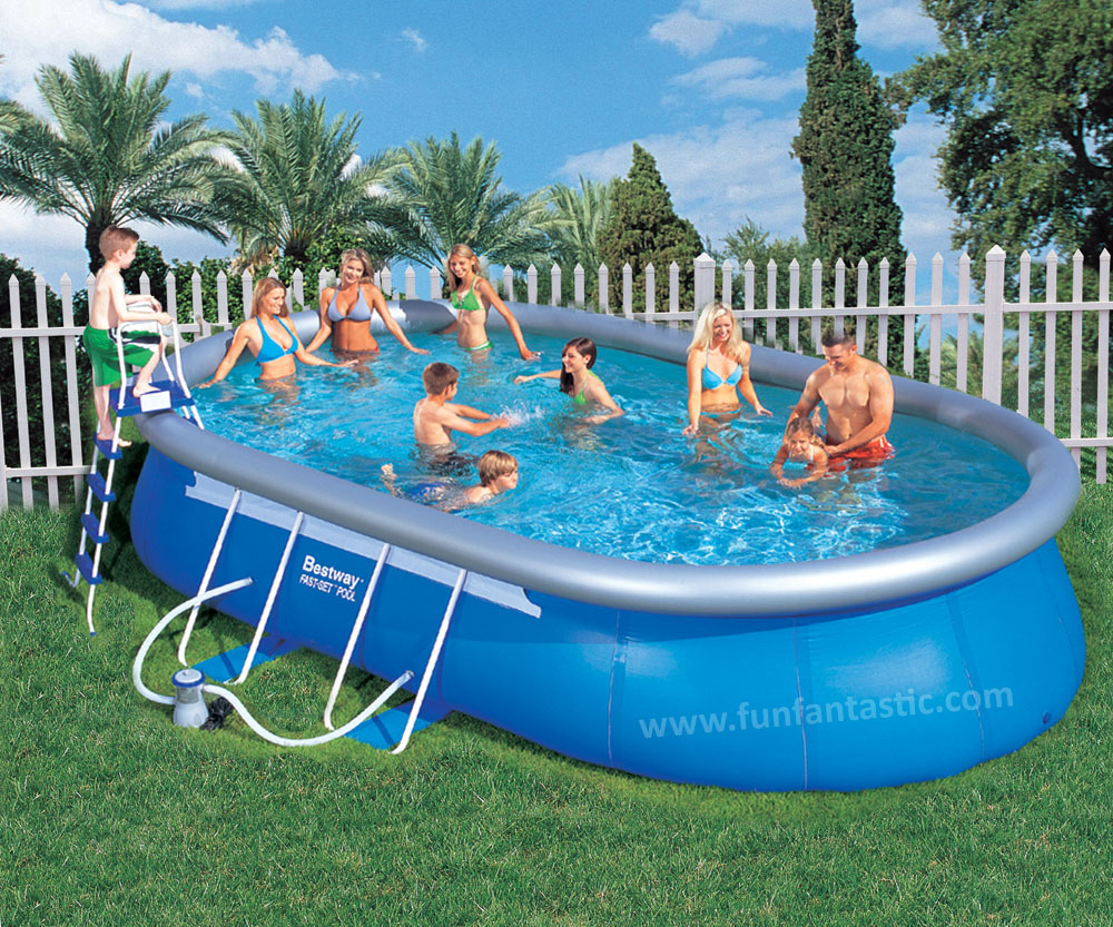 Bestway 16ft x10ft x 42in Oval Fast Set Above Ground Garden Pool
